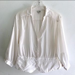 Anthro Odille White Cotton V Neck Button Down 6